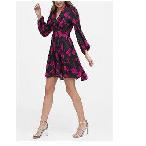 NWT BanRep Puff Sleeve Dress 12 Black Floral D341